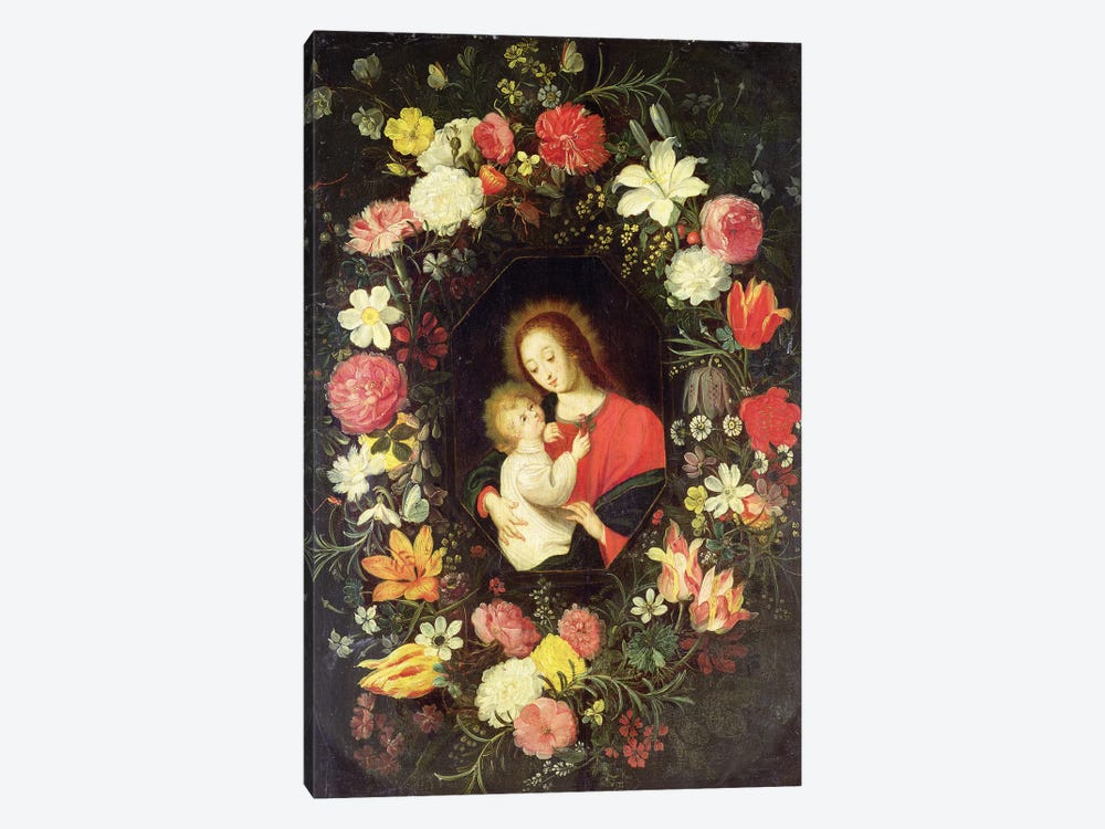 The Virgin and Child in a garland surround of flowers by Andries Daneels 1-piece Canvas Print