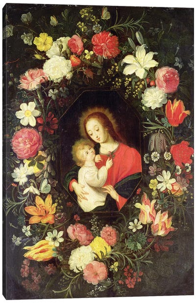 The Virgin and Child in a garland surround of flowers Canvas Art Print