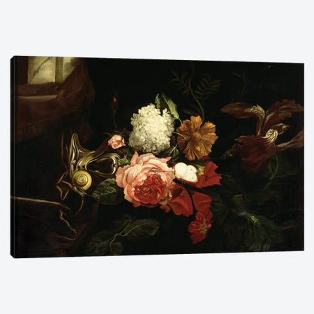 Flowers in a silver vase with a snail and a butterfly Canvas Print #BMN4534} by Willem van Aelst Art Print
