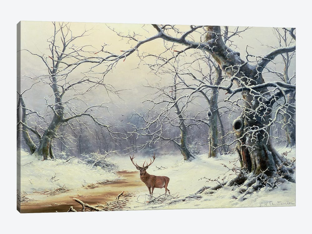 A Stag in a wooded landscape by Nils Hans Christiansen 1-piece Canvas Art Print