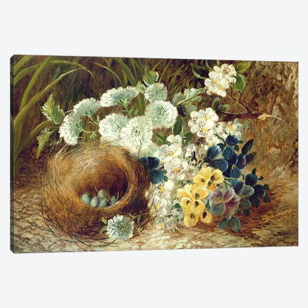 A Still Life of Flowers and a Bird's Nest on a Mossy Bank Canvas Print #BMN4536} by Vincent Clare Canvas Print