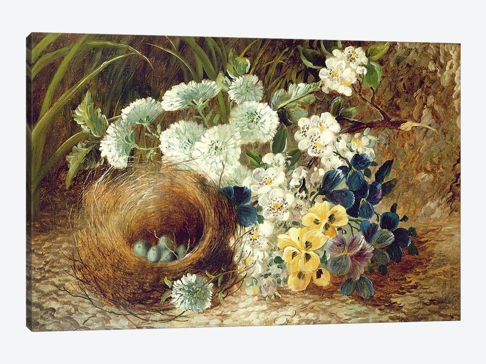 A Still Life of Flowers and a Bird's Nest on a Mossy Bank by Vincent Clare 1-piece Canvas Artwork