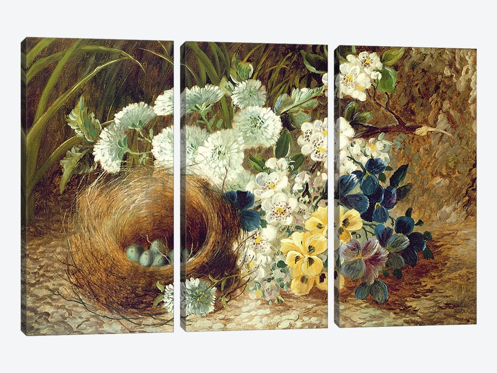 A Still Life of Flowers and a Bird's Nest on a Mossy Bank by Vincent Clare 3-piece Canvas Art