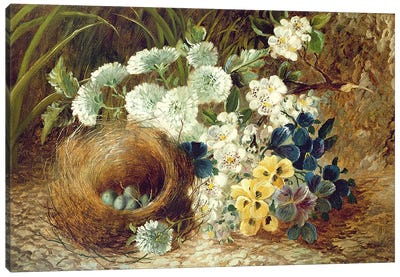 A Still Life of Flowers and a Bird's Nest on a Mossy Bank Canvas Art Print