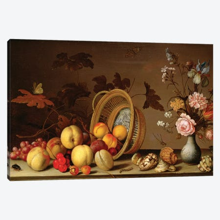 Apples, cherries, grapes, plums and a vase of flowers Canvas Print #BMN4538} by Balthasar van der Ast Canvas Artwork