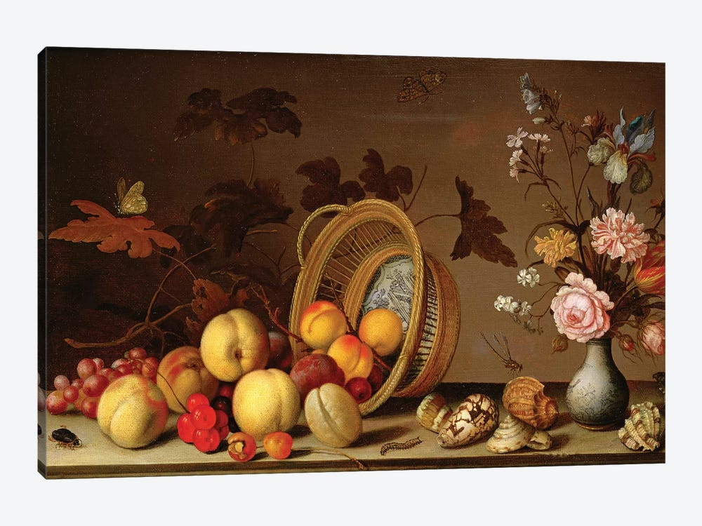 Apples, cherries, grapes, plums and a vase of flowers by Balthasar van der Ast 1-piece Canvas Wall Art