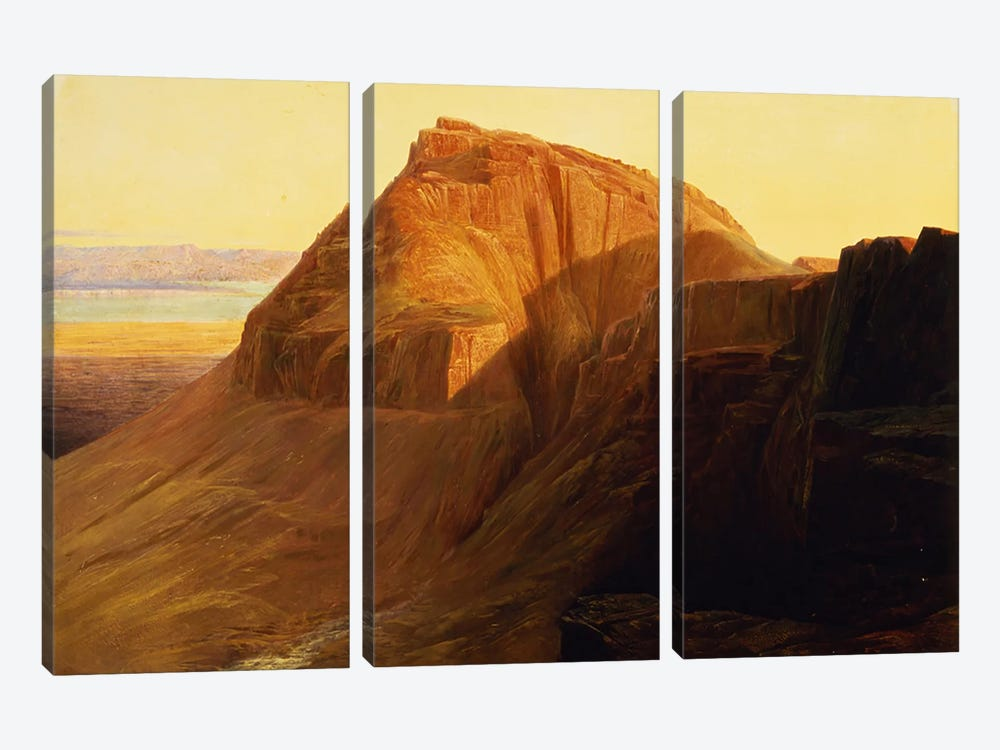 Masada or Sebbeh on the Dead Sea, 1858  by Edward Lear 3-piece Canvas Art Print
