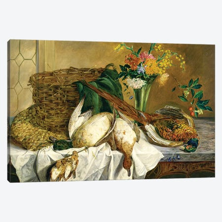 Still life of ducks, pheasant and flowers, 1855 Canvas Print #BMN4542} by Emily Stannard Canvas Print
