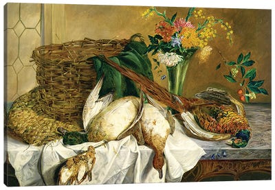 Still life of ducks, pheasant and flowers, 1855 Canvas Art Print
