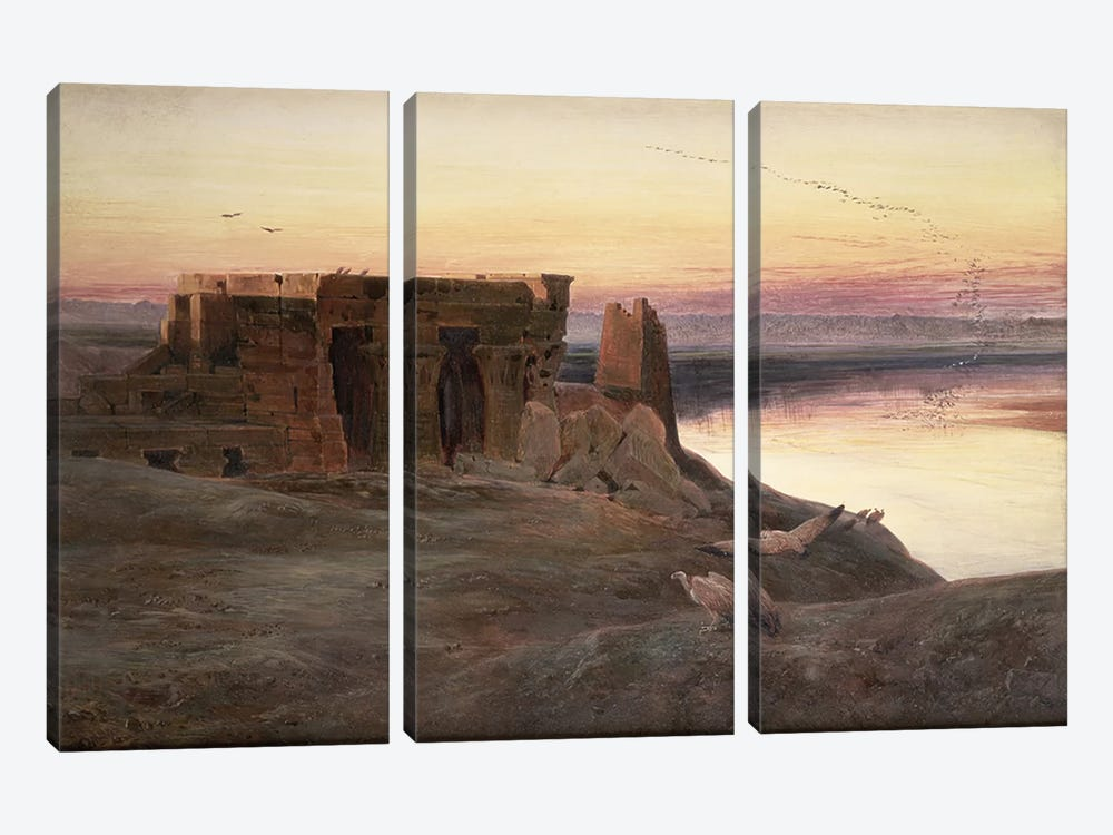 Kom Ombo Temple, Egypt by Edward Lear 3-piece Canvas Print