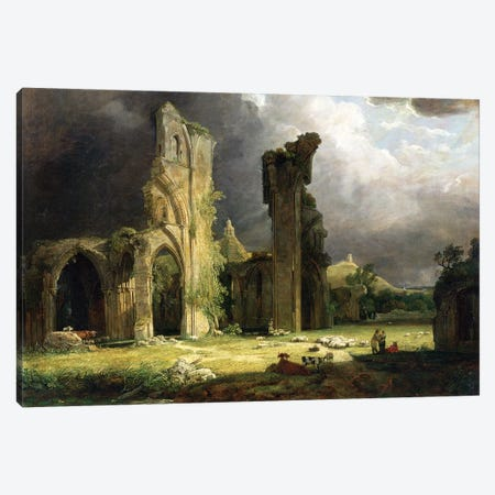 Glastonbury Abbey with the Tor beyond  Canvas Print #BMN4545} by George Arnald Canvas Artwork