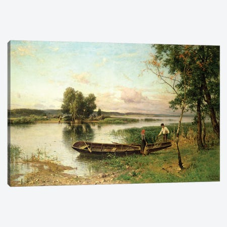 Fishermen unloading their catch in a river landscape Canvas Print #BMN4547} by Hjalmar Munsterhjelm Canvas Art