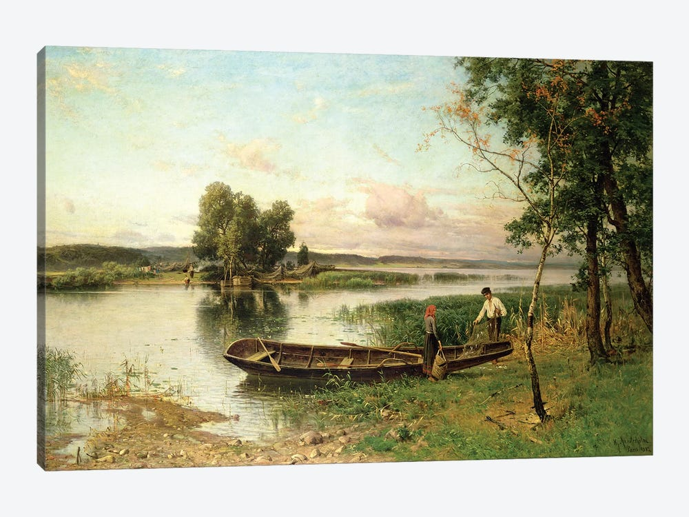 Fishermen unloading their catch in a river landscape by Hjalmar Munsterhjelm 1-piece Canvas Wall Art