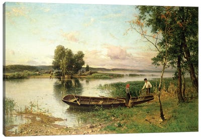 Fishermen unloading their catch in a river landscape Canvas Art Print