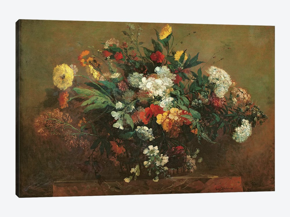 Flowers  by Ferdinand Victor Eugene Delacroix 1-piece Canvas Art Print