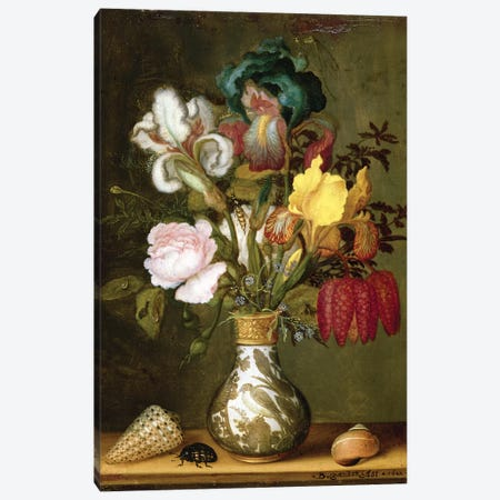 Irises, Roses and other Flowers in a Porcelain Vase, 1622 Canvas Print #BMN4551} by Balthasar van der Ast Canvas Art