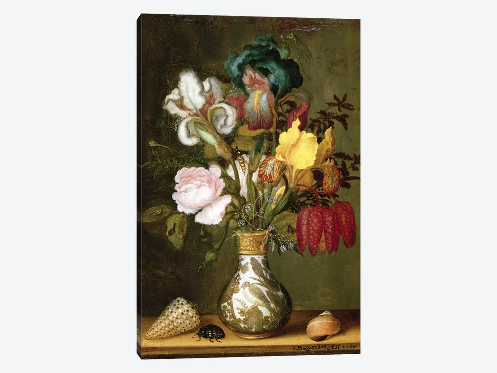 Irises, Roses and other Flowers in a Porcelain Vase, 1622 by Balthasar van der Ast 1-piece Canvas Print
