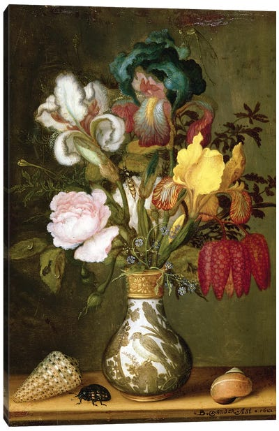Irises, Roses and other Flowers in a Porcelain Vase, 1622 Canvas Art Print