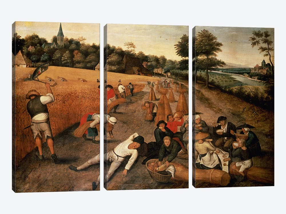 Harvesters' Lunch by Pieter Brueghel the Younger 3-piece Canvas Art