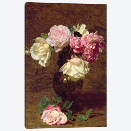 Pink and White Roses Canvas Print #BMN4553} by Ignace Henri Jean Theodore Fantin-Latour Canvas Wall Art