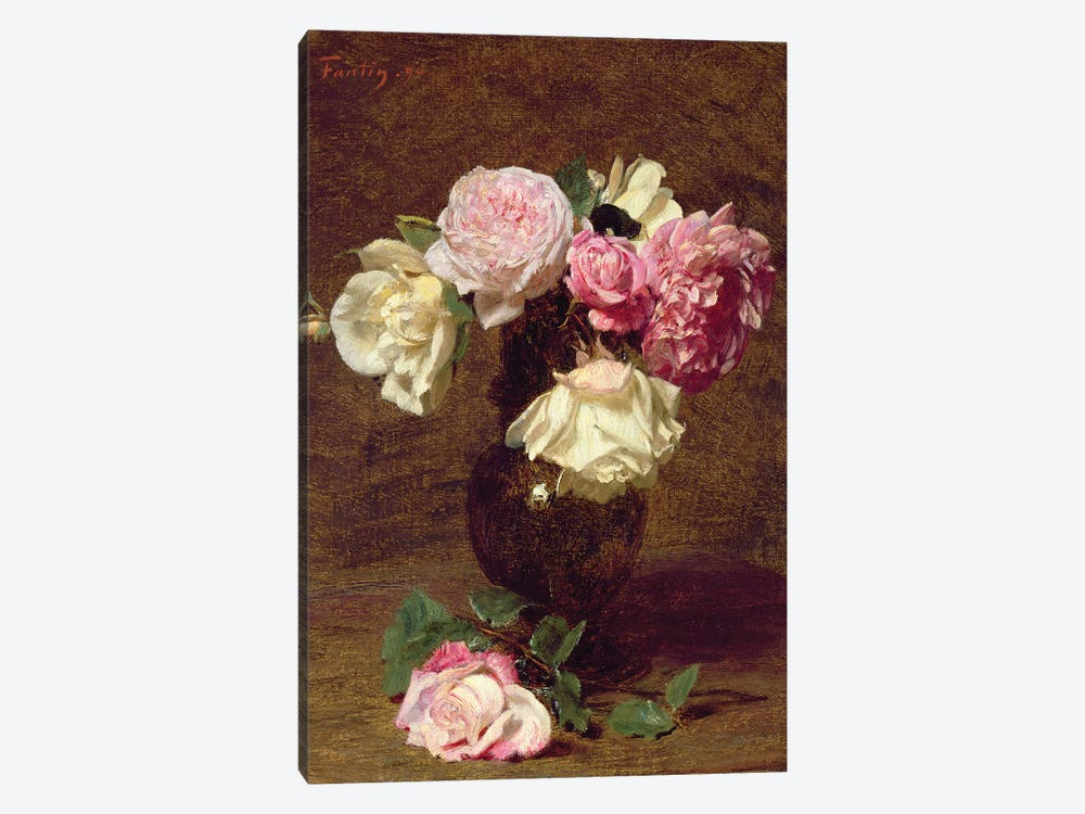 Pink and White Roses by Ignace Henri Jean Theodore Fantin-Latour 1-piece Canvas Art Print