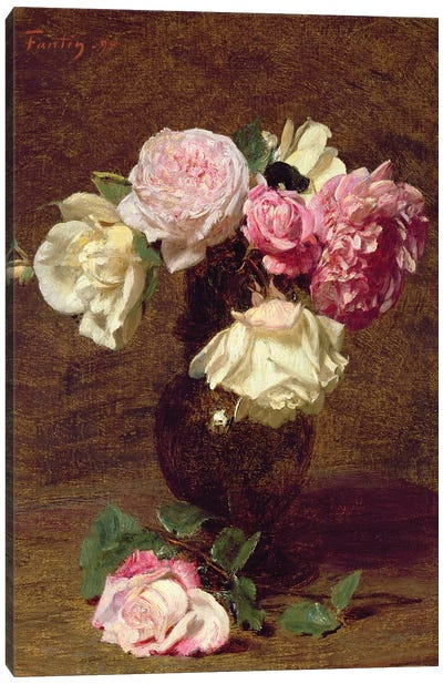 Pink and White Roses Canvas Art Print