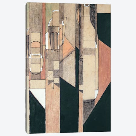 Glass and Bottle Canvas Print #BMN4558} by Juan Gris Canvas Artwork