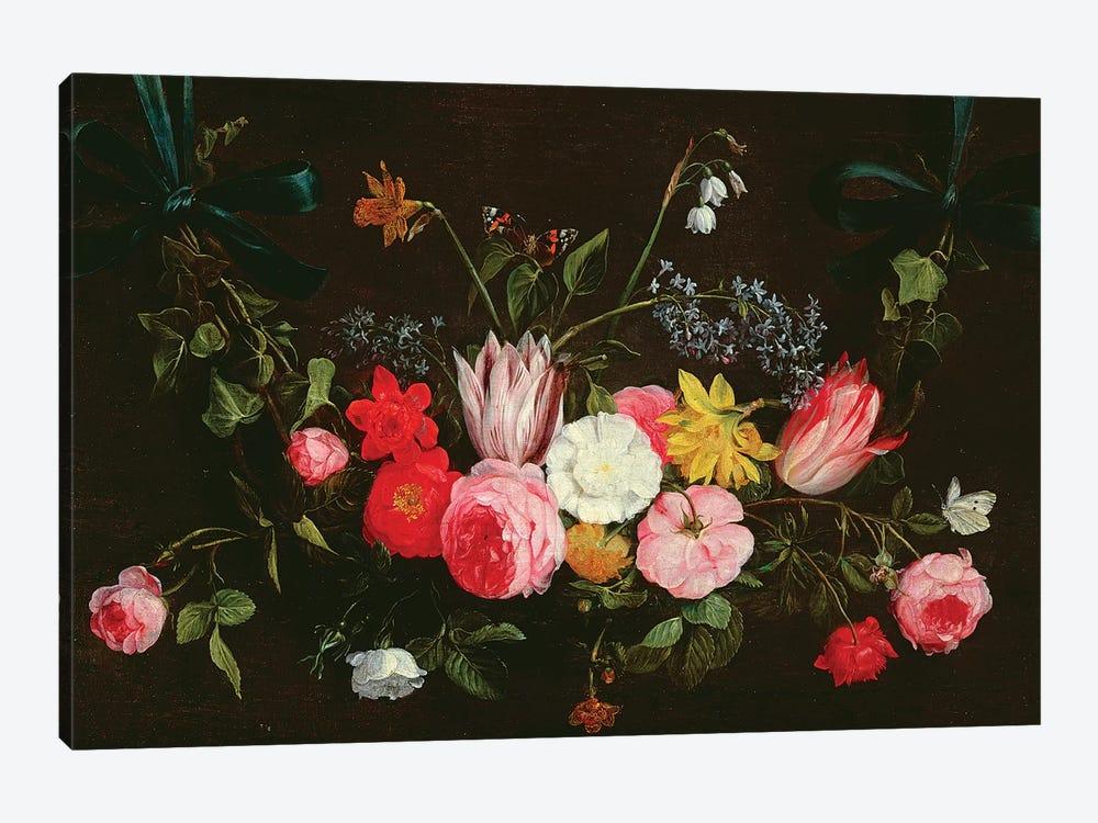 Tulips, Peonies and Butterflies by Jan van Kessel 1-piece Art Print