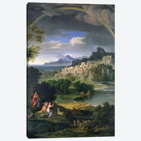 Landscape with Rainbow Canvas Print #BMN4561} by Joseph Anton Koch Canvas Print