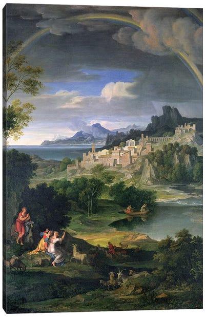 Landscape with Rainbow Canvas Art Print