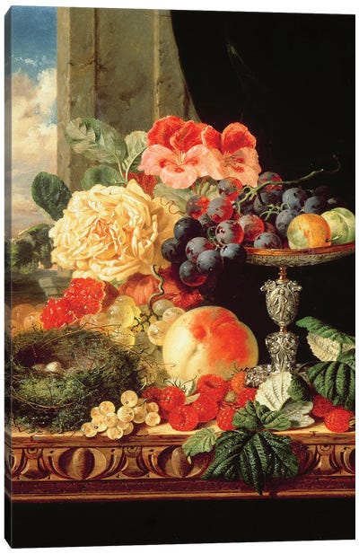 A Still Life of Fruit and Flowers Canvas Art Print