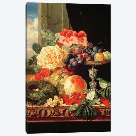 A Still Life of Fruit and Flowers Canvas Print #BMN4562} by Edward Ladell Art Print