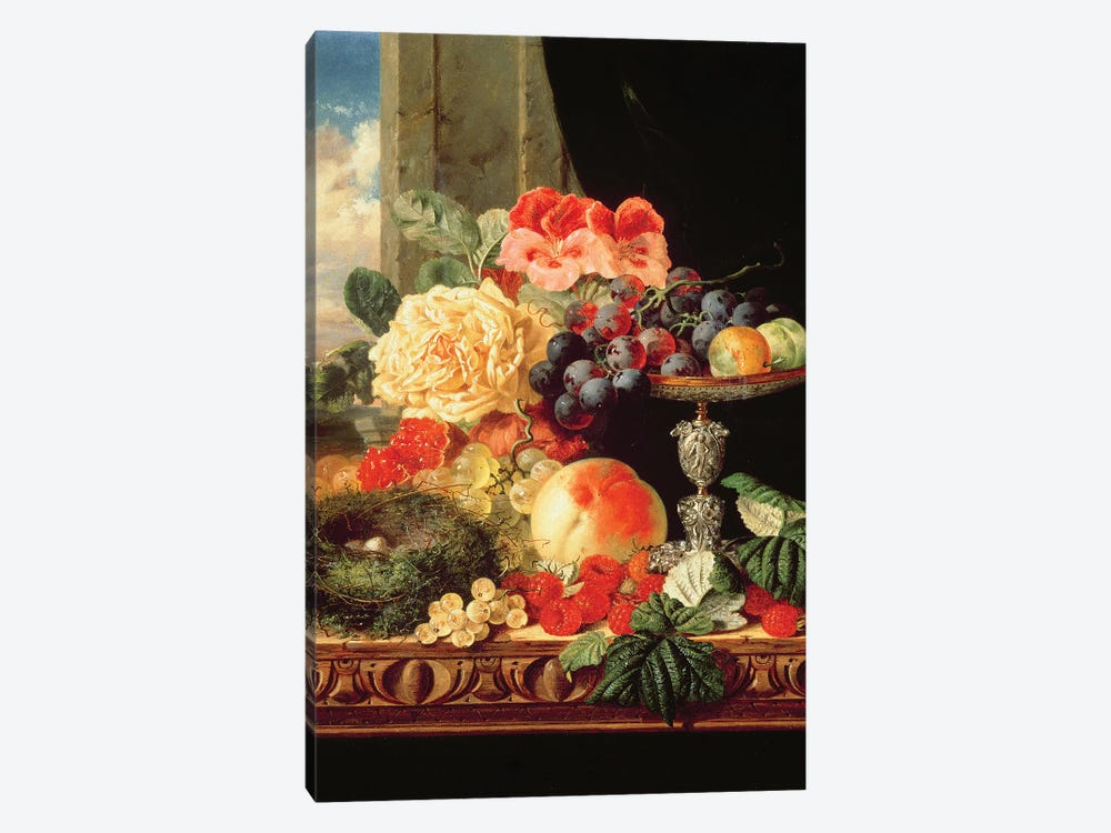 A Still Life of Fruit and Flowers by Edward Ladell 1-piece Art Print