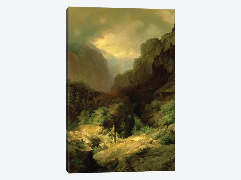 An Alpine Landscape in a Storm by Johann Gottfried Steffan 1-piece Canvas Wall Art