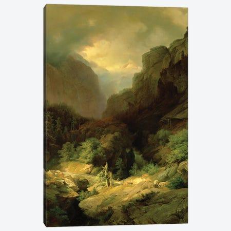 An Alpine Landscape in a Storm Canvas Print #BMN4565} by Johann Gottfried Steffan Canvas Art