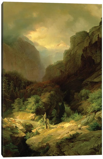 An Alpine Landscape in a Storm Canvas Art Print