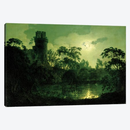 A Moonlit Lake by a Castle Canvas Print #BMN4568} by Joseph Wright of Derby Art Print