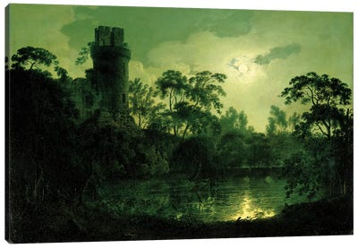 A Moonlit Lake by a Castle Canvas Art Print