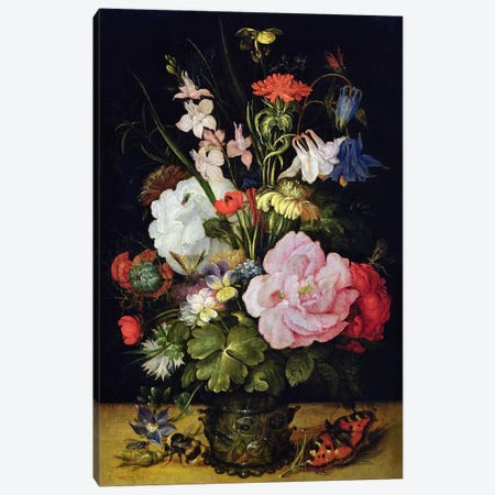 Flowers in a Vase  Canvas Print #BMN456} by Roelandt Jacobsz. Savery Canvas Art