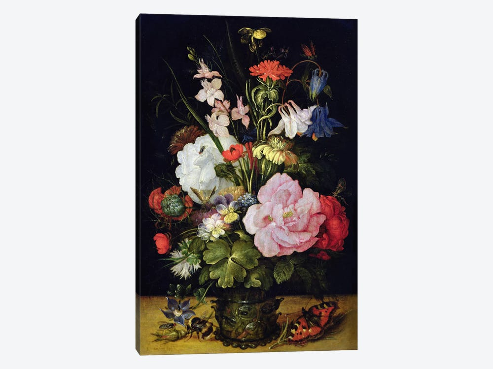 Flowers in a Vase  by Roelandt Jacobsz. Savery 1-piece Canvas Print