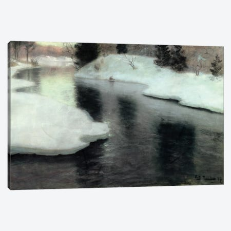 Thawing ice on the Lysaker River, 1887  Canvas Print #BMN4570} by Fritz Thaulow Canvas Artwork