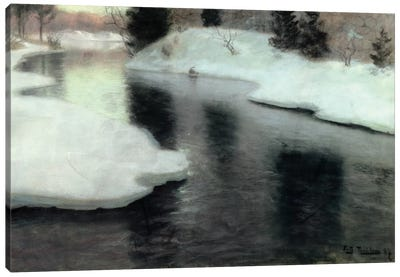 Thawing ice on the Lysaker River, 1887  Canvas Art Print