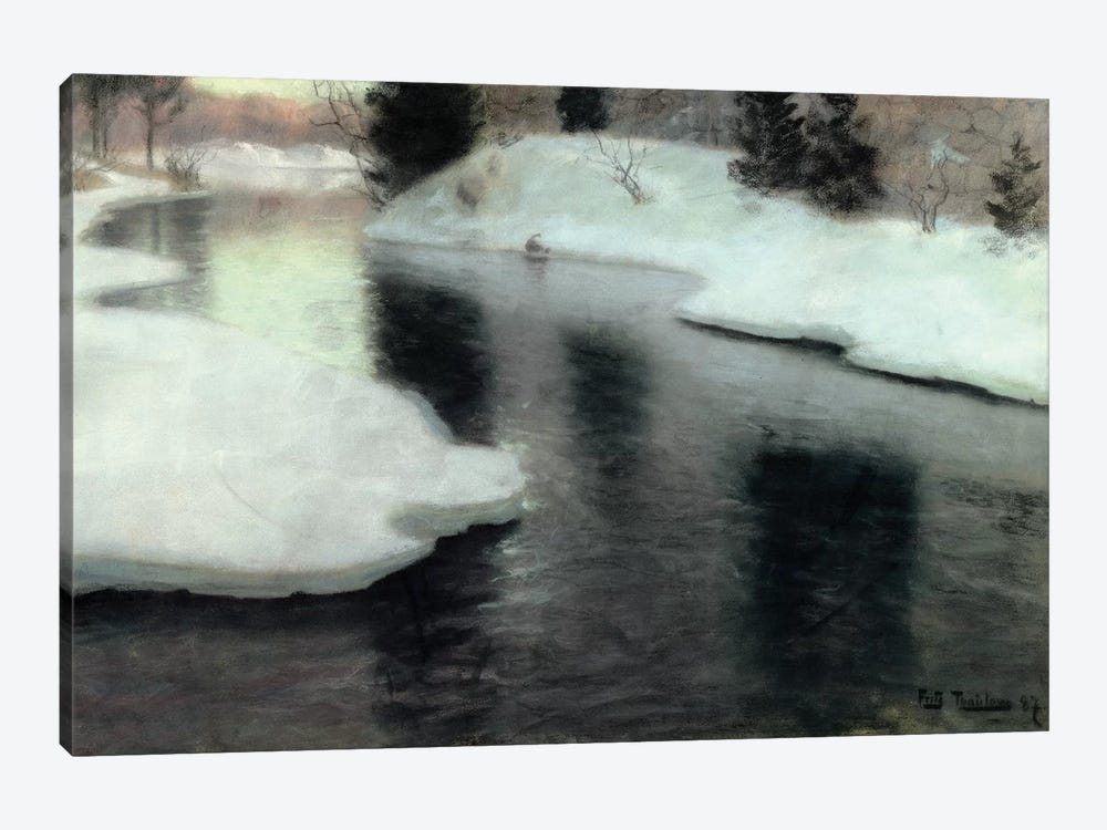 Thawing ice on the Lysaker River, 1887  by Fritz Thaulow 1-piece Canvas Artwork