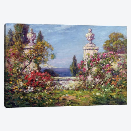 A Mediterranean Garden  Canvas Print #BMN4572} by Thomas Edwin Mostyn Canvas Wall Art