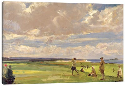 Lady Astor playing golf at North Berwick  Canvas Art Print