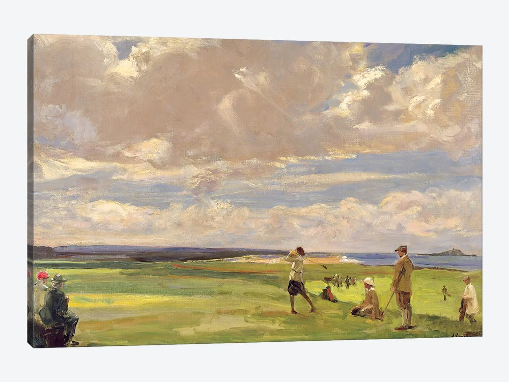 Lady Astor playing golf at North Berwick  by Sir John Lavery 1-piece Canvas Print