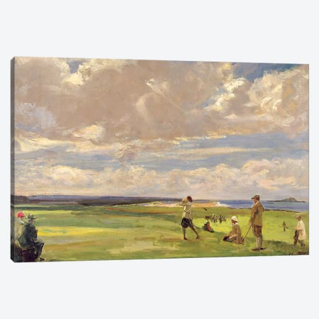 Lady Astor playing golf at North Berwick  Canvas Print #BMN4573} by Sir John Lavery Canvas Wall Art