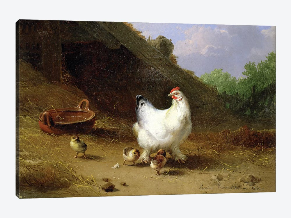 A hen with her chicks by Eugene Joseph Verboeckhoven 1-piece Canvas Art Print