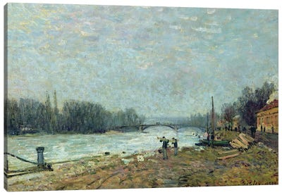 After the Thaw, the Seine at Suresnes Bridge, 1880  Canvas Art Print