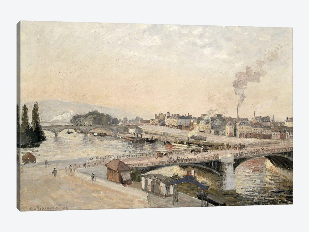 Boieldieu and Corneille bridges, 1898 by Camille Pissarro 1-piece Canvas Wall Art